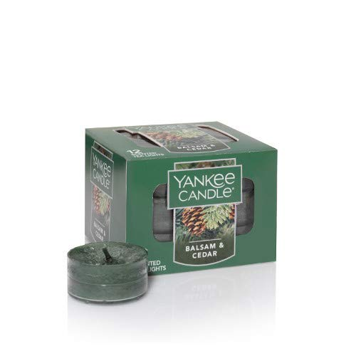 (Yankee Candle Balsam & Cedar Tea Light Candle, Festive Scent)