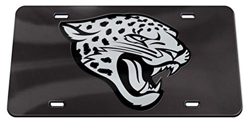 Jacksonville Jaguars WC Premium BLACK w/Silver Logo Laser Tag Acrylic Inlaid License Plate Football