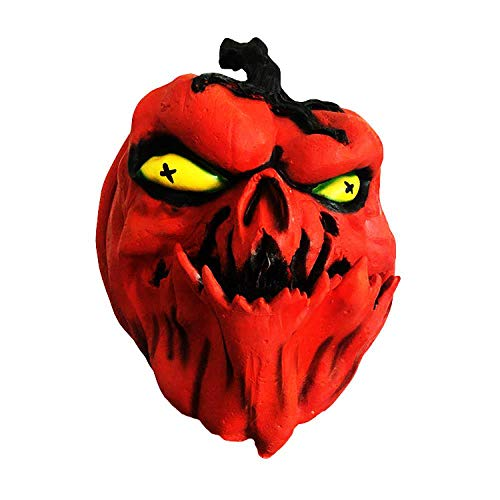 Halloween Pumpkin Head Mask Prom Dress Up Horror Red Pumpkin Head Mask -