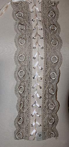 Tan Twill Silver Grommet Trim Poly lace Bodice Insert Satin Ribbon u116