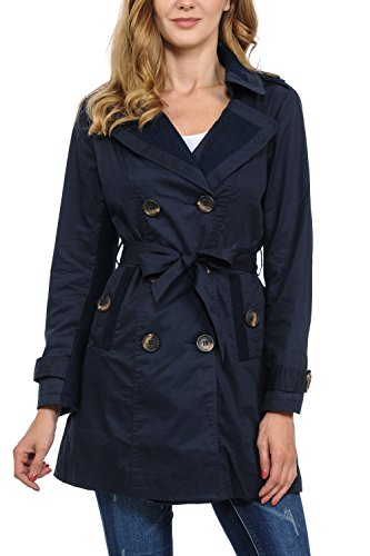Auliné Collection Women's Fashion Double Breasted Trench Coat Jacket with Belt Navy Blue Small