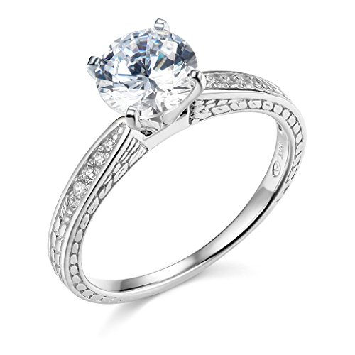 14k White Gold SOLID Wedding Engagement Ring and Wedding Band 2 Piece Set - Size 7 by TWJC (Image #1)