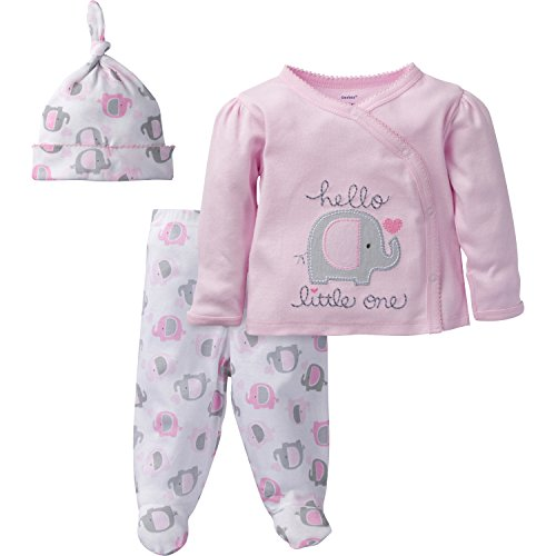 Gerber Baby Girl 3 Piece Side Snap Mitten Cuff Shirt, Footed Pant & Cap, elephant, Preemie