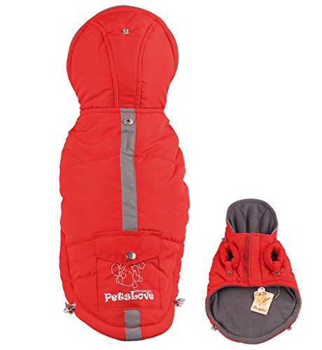 PetsLove Doggie Thickening Jacket Coat Pet Clothes Dog Warm Clothing for Winter Red S