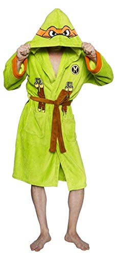 Ninja Turtles Men's TMNT Michelangelo Adult Costume Robe, Green/Orange, One Size -