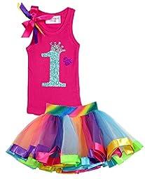 Bubblegum Divas Baby Girls\' 1st Birthday Rainbow Tutu Outfit 12 Months
