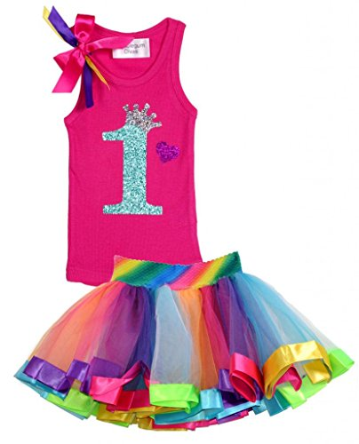 Bubblegum Divas Baby Girls' 1st Birthday Rainbow Tutu Outfit 18 Months (Disco Themed Clothes)