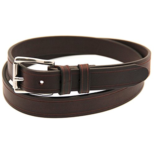 Mens 1 1/4 Dark Brown Latigo Leather Belt Saddle Groove Double Loops Size 34