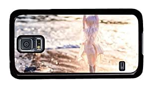 Hipster Samsung Galaxy S5 Cases personalized doll beach beach waves PC Black for Samsung S5