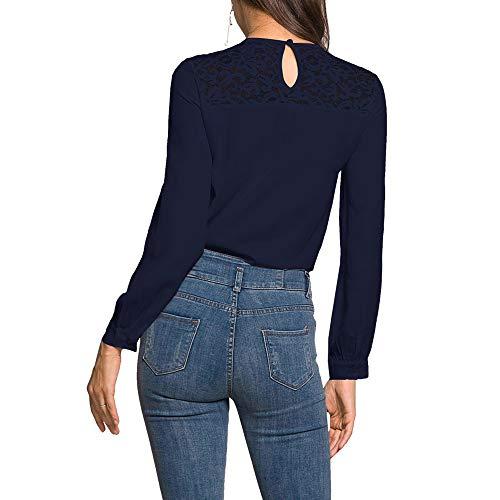 Chemisier Mousseline T Femme Longue Blouse de Tunique en Shirt Marine Haut Manches Dentelle Soie Chemise Chic Lace Tops Elgante ZY5Fn78qx