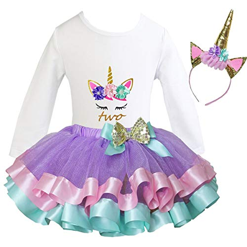 Kirei Sui Girls Lavender Trimmed Tutu Birthday Unicorn XS Long Sleeve Two ()