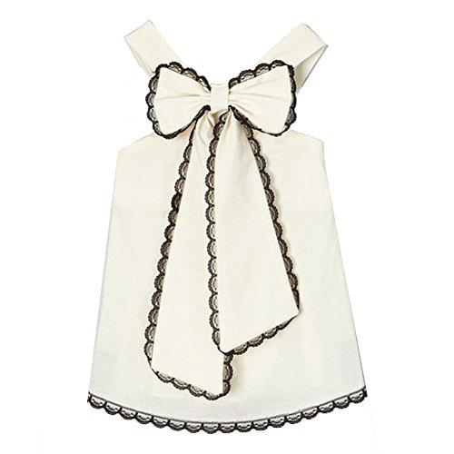 Black Scalloped Trim (Little Miss Fashion Baby Girls Ivory Black Scalloped Lace Trim Bow Accent Sleeveless Shirt 12M)