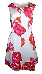 Calvin Klein Womens Floral Print Pleated Cocktail Dress White 14