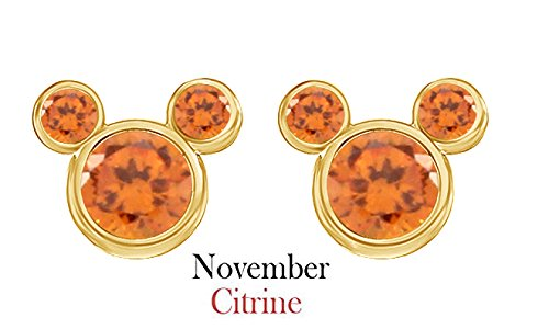 November Birthstone Citrine Mickey Mouse Stud Earrings In 14k Yellow Gold Over Sterling (Gold November Birthstone Earrings)