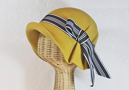 Velour Vintage Hat - Custom Made Vintage Inspired Ingrid Pleated Velour Felt Cloche Hat