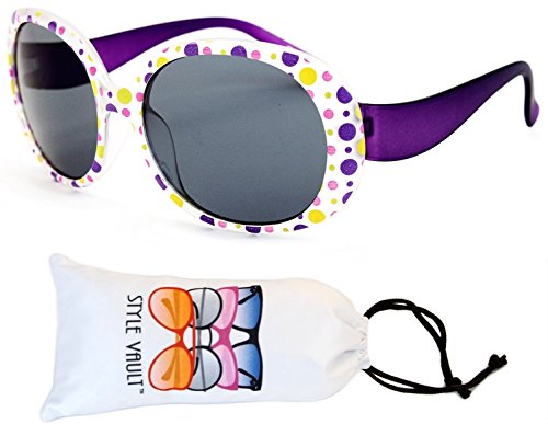Kd31-vp toddler Kids Childrens girls (1~4year old) Round oversize Sunglasses (B1838F Frost purple dots, - Sunglasses Old Month 6