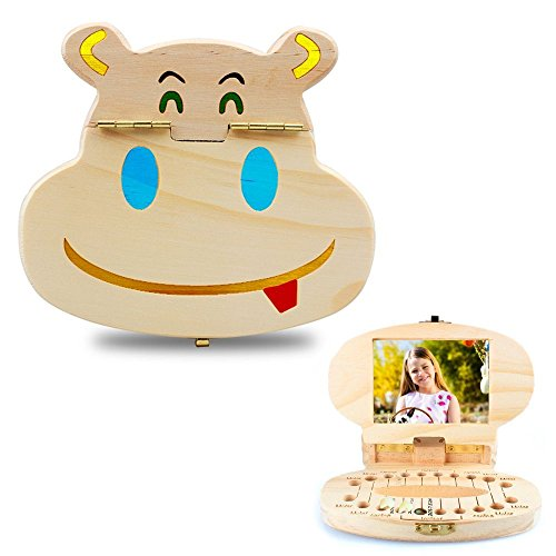 JAWM Baby Tooth Box with Album - Cute Hippo Shaped Wooden Kids Keepsake Organizer Gift for Baby Teeth - Color Pens for Customization