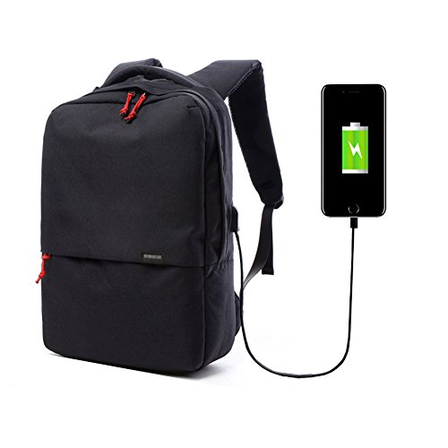 Blended Port (Hmulan A-001 High Capacity Laptop Backpack with USB Charging Port, Travel Casual Notebook School Bag, Black)