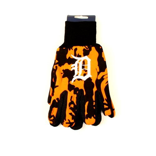 MLB Detroit Tigers Camo Gloves, Orange/Black