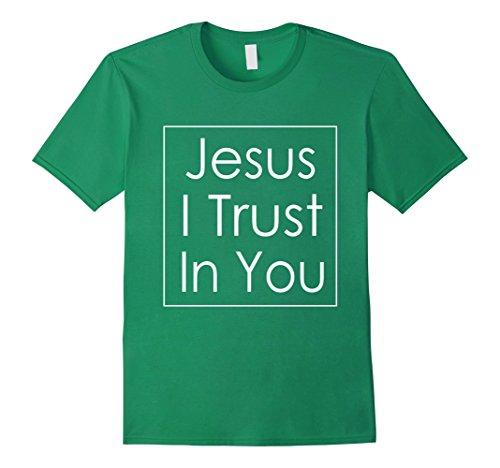 Mens Jesus I Trust In You T-Shirt Divine Mercy Devotion Tee Medium Kelly Green