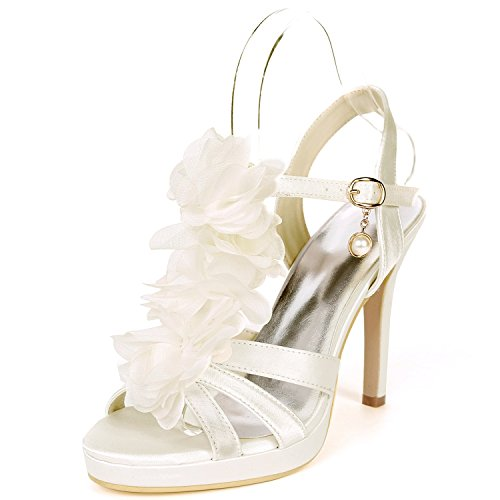 L@YC Women Wedding Shoes Peep Toes Mid Dance 11cm Heel High Heels Satin Buckle Silk Stiletto Flowers Ivory 4cdm93P
