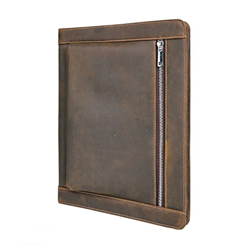 [Custom Engraved] Vintage Crazy-Horse Leather Portfolio for iPad Pro/Surface Pro, Handmade Padfolio Case Business Organizer, Names/Initials/Business Logo Engraved, Gift for Men & ()