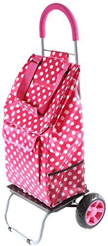 Foldable Trolley (Trolley Dolly, Pink Polka Dot Shopping Grocery Foldable Cart)