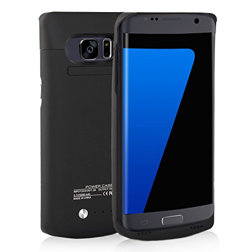 Galaxy S7 Edge Battery Case with Kick Stand 5200mAh Support Dual Charging Ultra Slim Rechargeable External Battery Backup Charger Case Protective Charging Power Cover Pack for Samsung Galaxy S7 Edge
