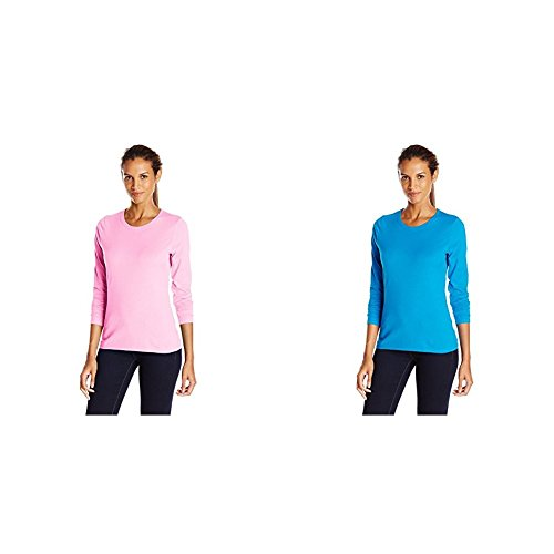 Hanes 2 Pack Long Sleeve Tee, Pink Swish/Deep Dive, ()