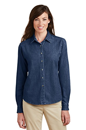 Port & Company Women's Long Sleeve Value Denim Shirt S Ink Blue (Denim Value Shirt Cotton)