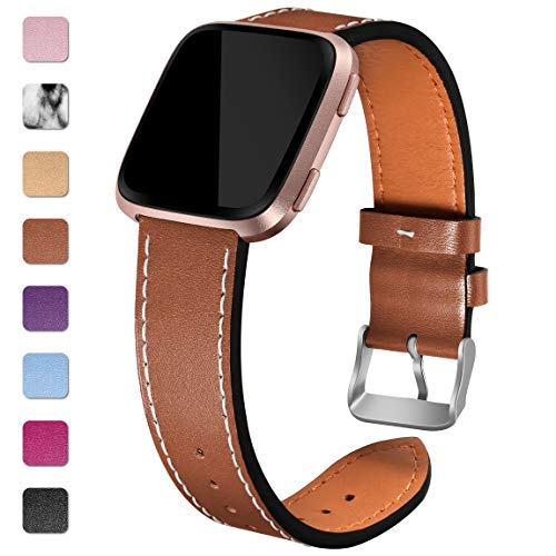 Maledan Compatible with Fitbit Versa Bands Women Men, Genuine Leather Strap Accessories Band Replacement for Fitbit Versa/Versa Lite/Versa Special Edition, Small, Chocolate Brown