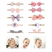 Fancy Clouds Baby Girl Headbands floral Bows, 10 Pack Hair Accessories for Newborn Infant Toddler girls shower gifts (pink bow, one size fit all)