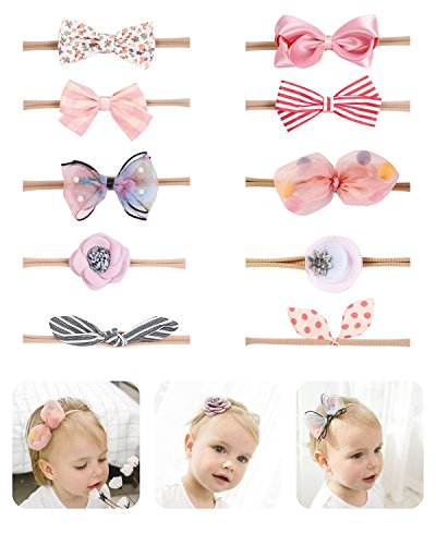 - Fancy Clouds Baby Girl Headbands,10 Pack Hair Accessories Bow Flower for Newborn Infant Toddler (pink bow)
