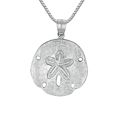 Sterling Silver Sand Dollar Pendant, Made in USA, 18