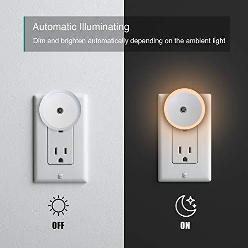 LED Night Light, Dusk to Dawn Energy Saving Sensor, Plug-in Night Light Lamp for Bedroom, Bathroom, Kitchen, Hallway, Stairs, Warm White Soft Light, 4 Pack (M1801)