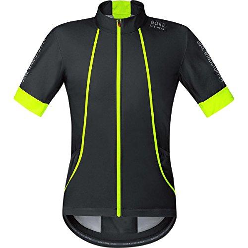 GORE BIKE WEAR, Men´s, Road cyclist jersey, Short sleeves, OXYGEN, GORE WINDSTOPPER Soft Shell, Size XL, Black/Neon Yellow, (Gore Bike Wear Mesh Jersey)