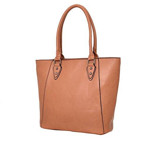 Haute für Diva S NEU einfarbig Kunstleder Innenfächer Damen Schulter Shopper Handtasche - Khaki, Large Hellbraun