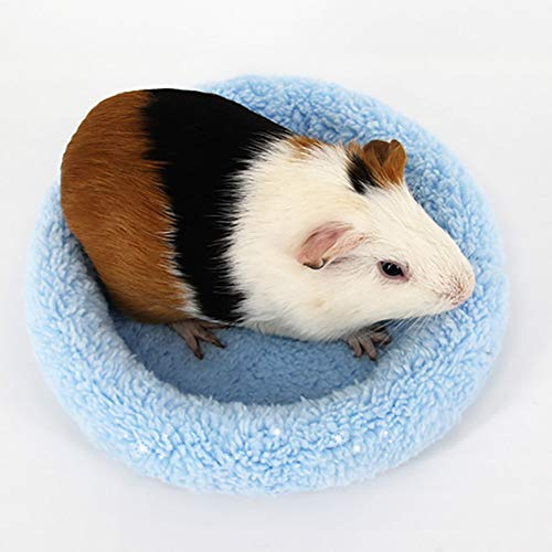 Anasu 2Pcs Soft Fleece Hamster Guinea Pig Bed Small Animal Cage House Bed Mat Hamster Sleeping Bed Pet Bed (2Pcs Blue, S)