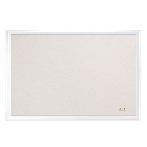 U Brands Cork Linen Bulletin Board, 20 x 30 Inches, White Wood Frame -