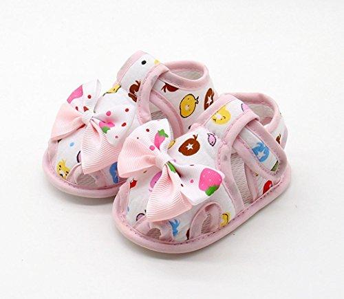 Igemy 1Paar Neugeborene Baby Mädchen Sommer Bogen Soft Sole Kleinkind Anti-Rutsch Schuhe Sandalen Rosa
