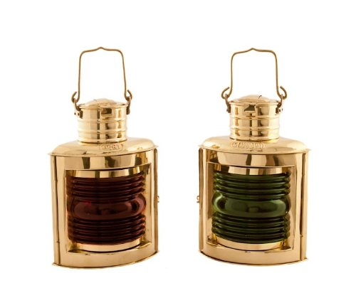 Brass Ships Lantern - Vermont Lanterns Brass Port & Starboard Lamps - Nautical Decor (9