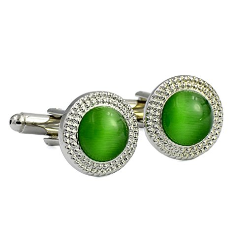 ENVIDIA Round Green Opal Cufflinks Fashion Wedding Party Gifts with Box