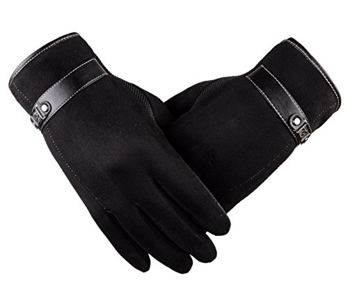 Tomily Men's Winter Touch Screen Gloves Suede Leather Cashmere Lining Warmer Driving Cycling Texting Gloves (Black)