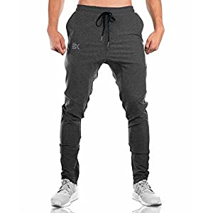 BROKIG Gwings Mens Jogger Sport Pants, Casual Zipper Gym Workout Sweatpants Pockets (L, Dark Grey)