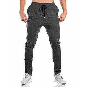 BROKIG Gwings MensJogger Sport Pants,Casual Zipper Gym Workout Sweatpants Pockets (L, Dark Grey)