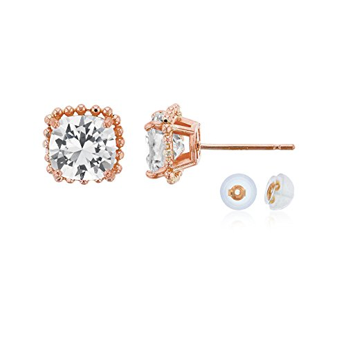10K Rose Gold 6x6mm Cushion Cut Created White Sapphire Bead Frame Stud Earring with Silicone Back Carats Ruby Sapphire Beads