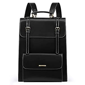 ECOSUSI Laptop Backpack for Women PU Leather Backpack Vintage for Laptop 15.6 inches School Bag College Bookbag, Black