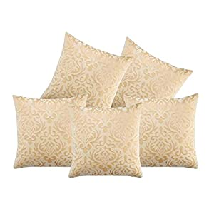 Czar Home Velvet Cream Cushion Covers (Beige, 16×16-inches) – Set of 5