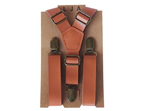 """LJA Brown Groomsmen Suspenders Rustic Wedding Outfits 35""""-67'' fits up to 6'8 by London Jae Apparel"""