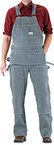 Round House Men's Carpenter Bib Overall with Zipper Fly Vintage Stripe 36X30 - Fly Bib Overalls